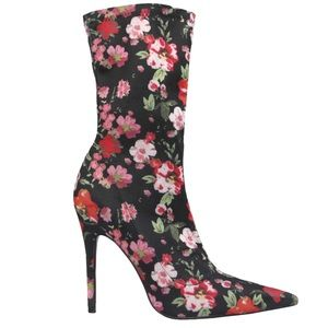 """Therapy """"Sarita Floral"""" Pointy Toe Sock Boots New"""